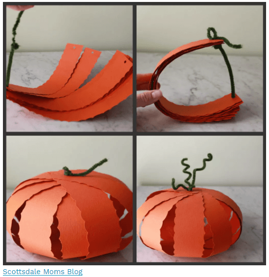 Paper Pumpkins Craft. Photo by Scottsdale Moms Blog