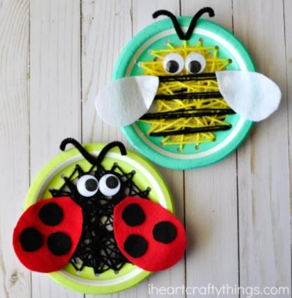 Paper Plate Insect Sewing